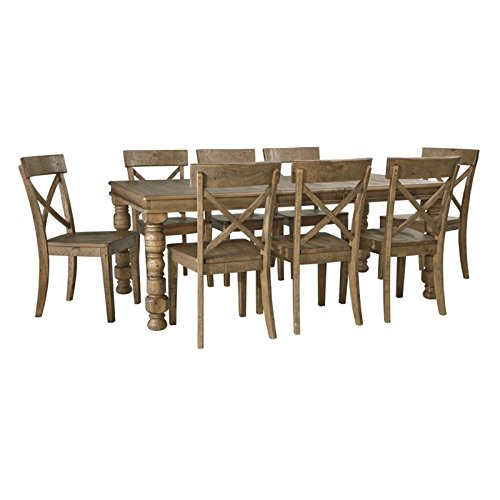 Ashley Trishley 9 Piece Dining Set in Light Brown