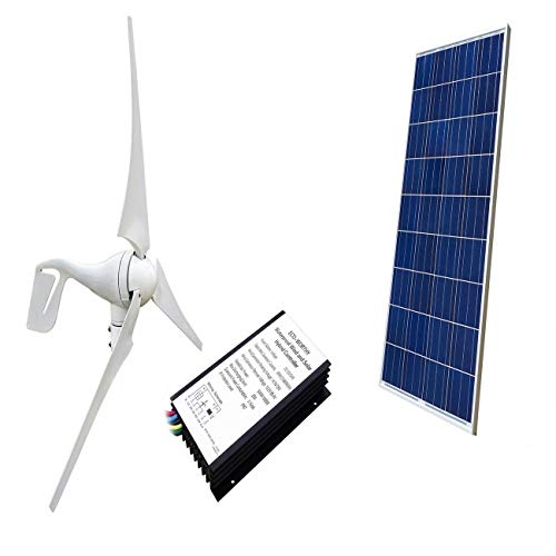 ECO-WORTHY 400W Wind Turbine Generator + 100W Polycrystalline Solar Panel for Off Grid 12 Volt Battery Charging