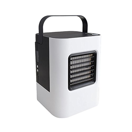 LUCKSTAR Portable Mini Air Conditioner Quiet Personal Conditioning Fan Handheld Mini Air Cooler Refrigeration & Humidification & LED Night Fan, Perfect for Office, Home, Outdoor, Camping (Black-White) by LUCKSTAR