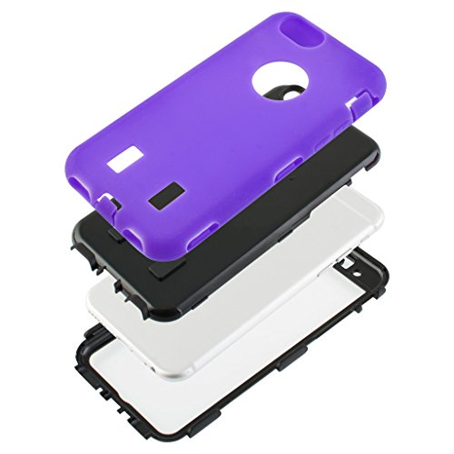 Good Quality Apple iphone 6 Case cover Durable Shockproof Armor Case 3in1 Combo Rigid PC + Soft Silicone Protective Case (Purple)
