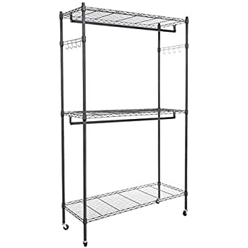 Amazon Com Modrine Garment Rolling Rack 3 Tiers Heavy Duty Wire Shelving With