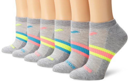 Saucony Women's 6-Pack Performance No Show Socks, Grey Assorted, Shoe Size: 5-10