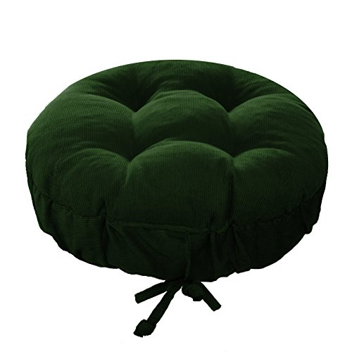 Padded Round Bar Stool Cover - Pinwale Corduroy Hunter Green - Size Standard - Latex Foam Fill Barstool Cushion with Adjustable Drawstring Yoke - Made in USA fits most 12