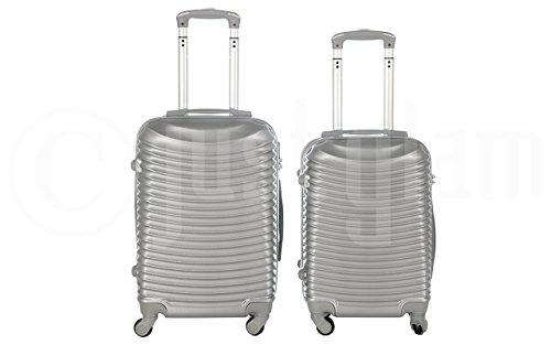 Trolley da cabina valigia rigida 4 ruote in abs policarbonato antigraffio e impermeabile compatibile voli lowcost come Easyjet Rayanair art 2030 / piccolo argento