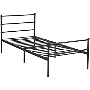 GreenForest Metal Bed Frame Twin Size Two Headboards 6 Legs Mattress Foundation Black Platform