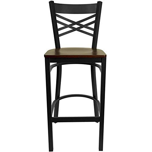Contemporary Mahogany Bar Stool - Flash Furniture HERCULES Series Black ''X'' Back Metal Restaurant Barstool - Mahogany Wood Seat