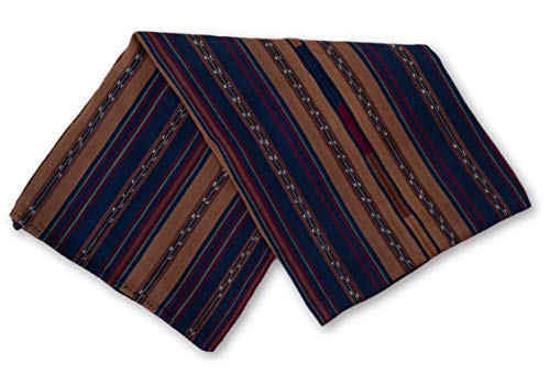 Mayan Arts Hand Woven Textile, Blue and Brown Tones, Solola Tzute Guatemala Tablecloth, or Shawl, or Decorative Wall Hanging (Style 2) 37