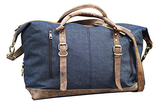 Leather Duffel Travel Gym Overnight Weekend Leather Bag Classic Round Handmade Eco-Friendly Bag (JEANS DUFFEL)