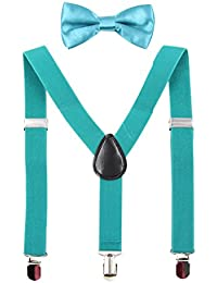Kids Suspender Bowtie Sets Adjustable Suspender With Bow...