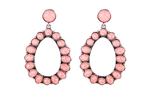 Coral Pink Bohemian Dangle Metal Large Oval Earring - Coral Pink Earrings Oval
