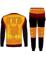 Yokbeer Verwarmde Pyjama's voor Heren en Dames,Broeken en Tops voor Gezinnen USB Elektrisch Geïsoleerde Koolstofvezel Verwarmde Shirts en Nachtkleding Ondergoed en Warme Kleding voor Winterslaap