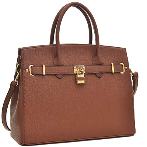Faux Satchel Shoulder Padlock Handbags Designer Women's Tote Bag Handle Purse Laptop Dasein Top Brown Bag Briefcase Leather 2731 qtwf8nSAv