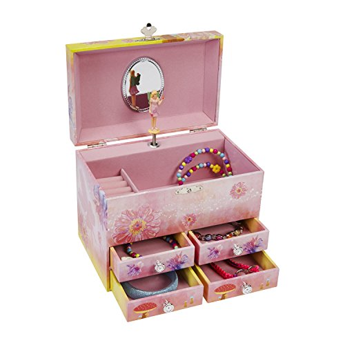 JewelKeeper Fairy and Flowers Large Musical Jewelry Storage Box with 4 Pullout Drawers, Girl's Jewel Box, The Spring Tune