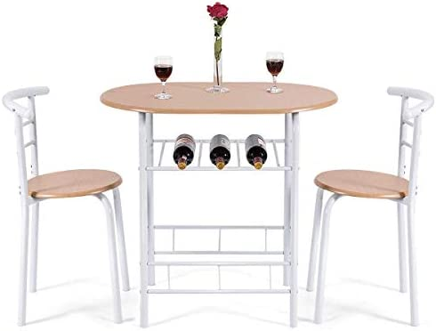 Giantex 3 Piece Dining Set Compact 2 Chairs and Table Set