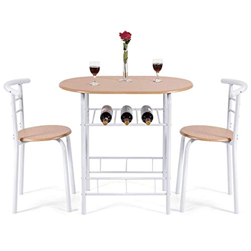 Giantex 3 Piece Dining Set Compact 2 Chairs and Table Set with Metal Frame and Shelf Storage Bistro Pub Breakfast Space Saving for Apartment and Kitchen (Wood)