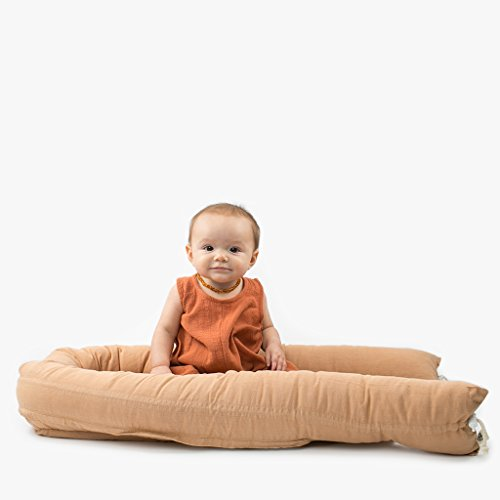Askr & Embla Sleepod Original Baby-Sleeper - Perfect for Napping, Lounging, Tummy time & Travel. Organic & Hypoallergenic - Suitable from 0-7 Months. 100% Wool Puddle pad and Travel Bag (Olive Green) by Askr & Embla (Image #1)