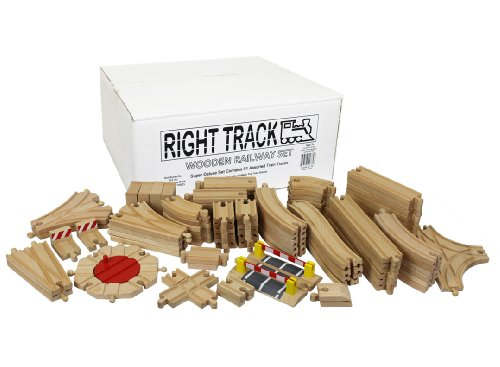 Wooden Train Track Super Deluxe Set: 91 Assorted Pieces 100% Compatible with All Major Brands including Thomas Wooden Railway System By Right Track Toys - Compare and Save - 100% (Name Train Track Set)