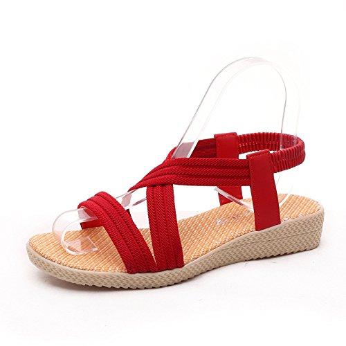 ZHRUI Dimensione Rosso donna grandi EU di spiaggia dimensioni con 37 Sandali elastico Marrone cinturino Colore da rqBw7rfCp