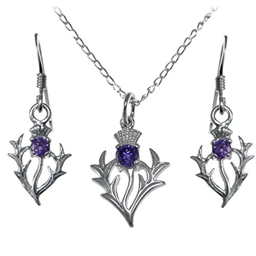 Sterling Silver Amethyst Thistle gift set