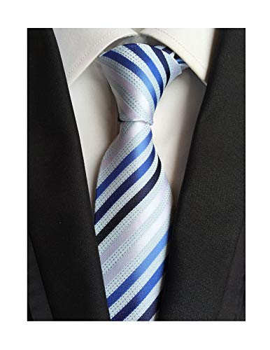 Secdtie Men's Large Striped Jacquard Woven Silk Tie Formal Business Necktie (One Size, Blue White stripe)