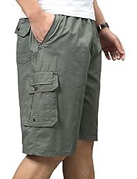 Men's Loose Fit Cotton Twill Elastic Waistband Cargo Short