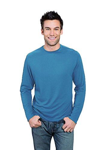(ONNO Men's Long Sleeve Bamboo T-Shirt XL Sea Blue)