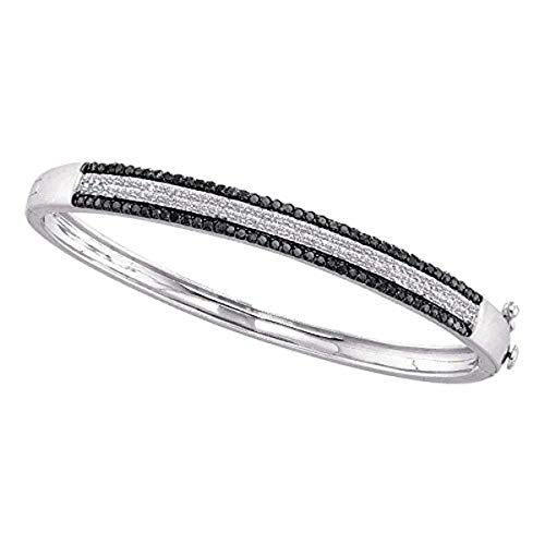 (Roy Rose Jewelry 14K White Gold Womens Round Black Color Enhanced Pave-set Diamond Bangle Bracelet 1-3/8-Carat tw)