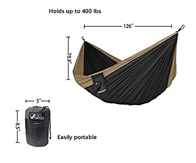 "Enover Portable Double Tree Parachute Backpacking & Camping Hammock, Breathable Nylon, 400lbs / 10'6"" X 6'6"", for Outdoor Recreation"