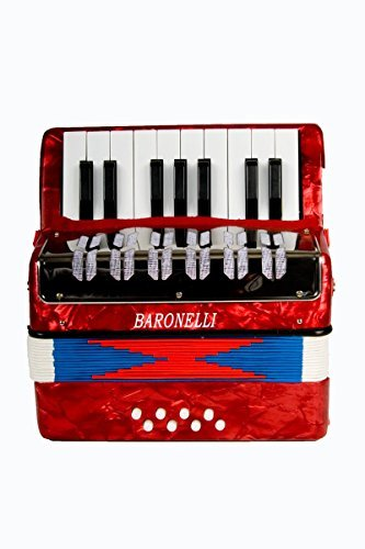 Directly Cheap Baronelli Red Beginner Educational 17 Key Junior Accordion with adjustable Straps, & DirectlyCheap(TM) Translucent Blue Medium Pick (ACPK-1)