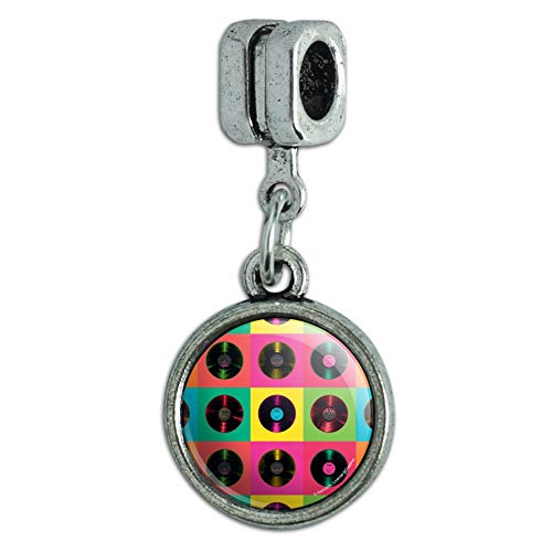 GRAPHICS & MORE Vinyl LP Records Rainbow Colored Background Italian European Style Bracelet Charm Bead