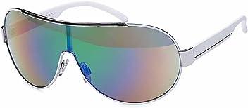 Unisex Sonnenbrille Monoscheibe mit verspiegelten Gläsern UV400 Filter- Im Set mit Etui