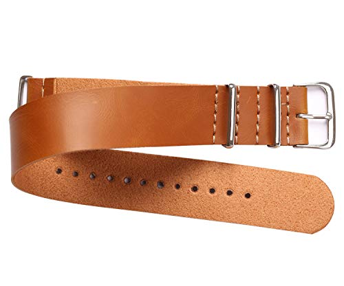PASOY 20mm Watch Band NATO Watch Band Mens Light Brown Synthetic Leather Military Strap Bands Watchbands