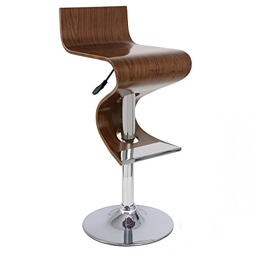 Creative Images International Wave Collection Height Adjustable Walnut Wood Swivel Bar Stool with Low Backrest and Gas Lift, Walnut ()