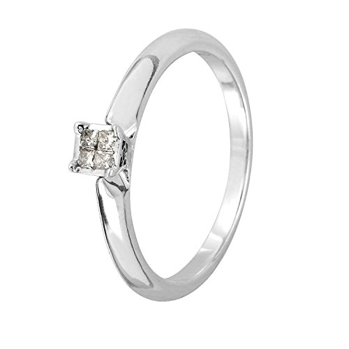 0.1 Carat Natural Diamond 14K White Gold Engagement Ring for Women Size 7 (Princess 0.1 Ct Diamond)