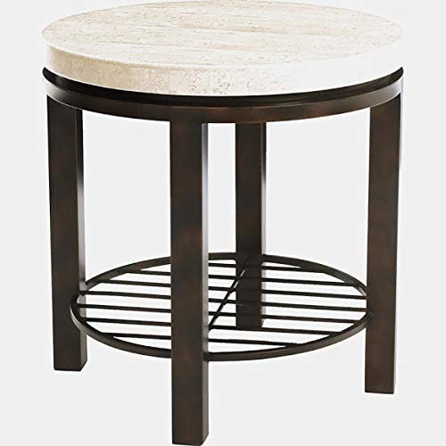 - Steel Base End Table with Shelf - End Table with Travertine Stone Top - Dark Brown