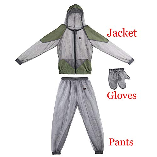 Lixada Mosquito Suit - Whole Body Repellent Bug Jacket Mesh Hooded Suits Men Women Ultra-fine Mesh Insect Protective for Outdoor Fishing Hiking Camping Gardening Farming ()