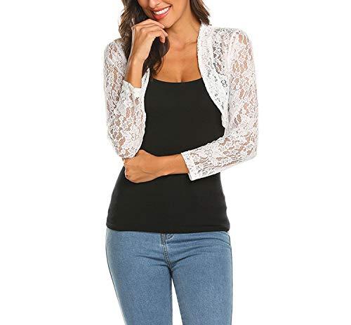Grabsa Women's 3 4 Sleeve Lace Shrugs Bolero Cardigan Crochet Sheer Crop ()