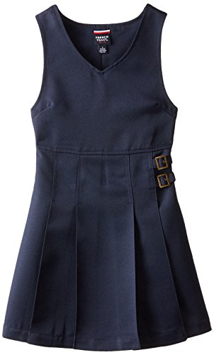 French Toast Big Girls' Double Buckle Tab Jumper, Navy, 12