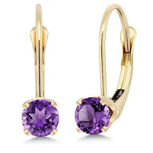 14K Yellow Gold 0.50 Ct Round Purple Amethyst Leverback Earrings (Earrings Purple Yellow)
