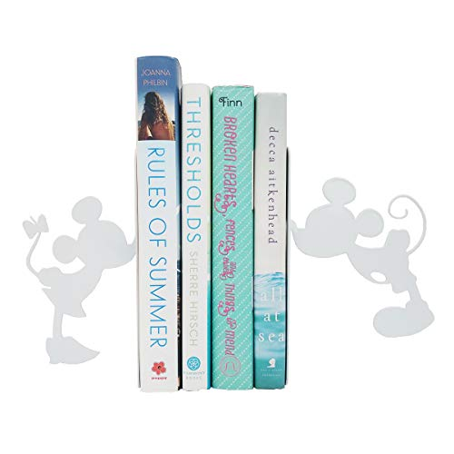 PandS White Mickey and Minnie Bookends | Mouse Book Ends for Your Home | Great for Book Lovers | Bookends for Heavy Books | Decorative and Creative Bookends | Iron Bookends