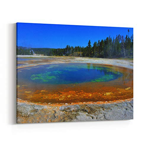 Rosenberry Rooms Canvas Wall Art Prints - Colorful Steaming Geyser Pool in Upper Geyser Basin of Yellowstone National Park, Wyoming (10 x 8 inches)