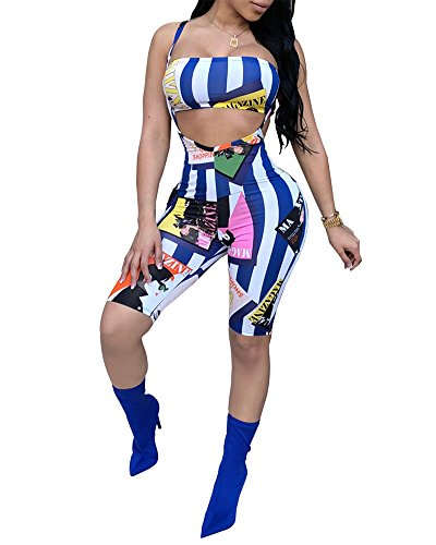 - Womens Sexy Bra Crop Tops Plaid Print Short Pants Jumpsuits 2 Piece Outfits