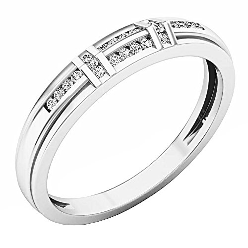 Dazzlingrock Collection 0.12 Carat (ctw) 14K Round White Diamond Mens Channel Set Wedding Band, White Gold, Size 11.5 ()