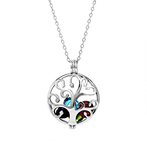 Sterling Silver Personalized 6mm Round Simulated Birthstone Family Tree Locket (16
