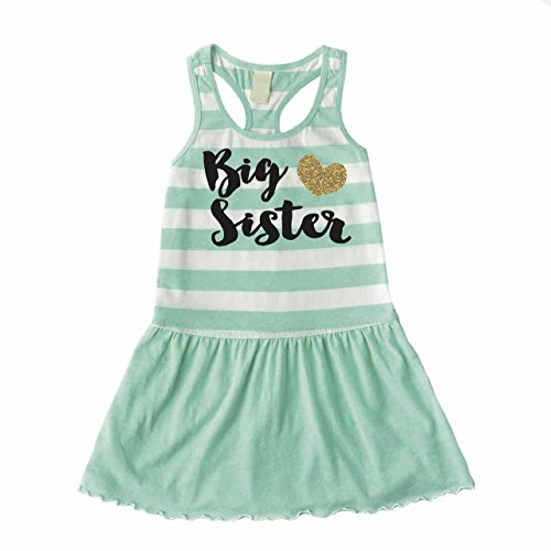 Bump and Beyond Designs Big Sister Outfit, Baby Girl Clothes, Big Sister Summer Tank Dress (5T)