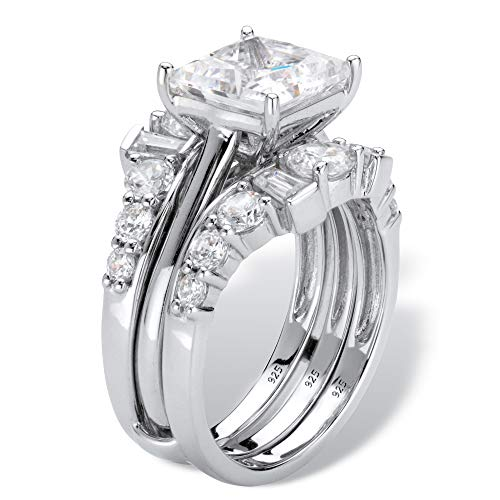 Platinum over Sterling Silver Princess Cut Cubic Zirconia Jacket Bridal Ring Set Size 6