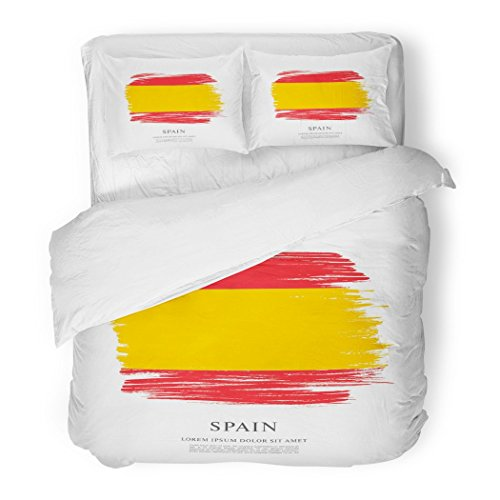 SanChic Duvet Cover Set Gray Abstract Flag Spain Brush Stroke Red Celebrate Celebration Color Decorative Bedding Set Pillow Sham Twin Size by SanChic