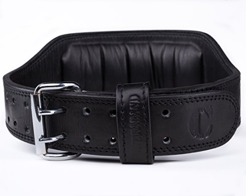 Contraband Black Label 4360 6in 7mm Top Grain Aniline Leather Weight Lifting Belt (Black, Medium) ()