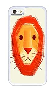 Zheng caseApple Iphone 5C Case,WENJORS Cute Sad lion Soft Case Protective Shell Cell Phone Cover For Apple Iphone 5C - TPU White