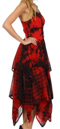 Rosso per donna Sakkas vestito corsetto le fazzoletto Nero Annabella orlo corpetto vTvgZ